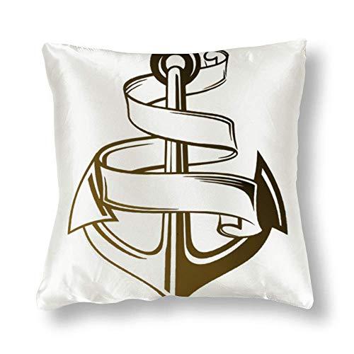 Perfecone Home Improvement - Funda de almohada de algodón ligero con diseño de ancla y cuerda, 1 funda de almohada para sofá y coche, 45 x 45 cm