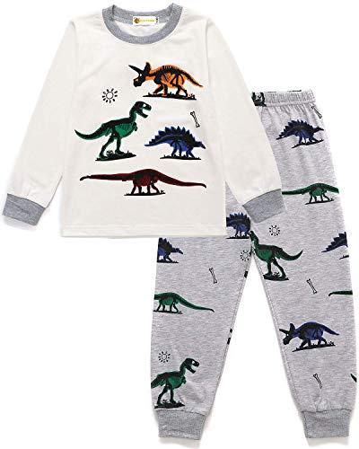 MOLYHUA Schlafanzug für Jungen Dinosaurier Zweiteilige Schlafanzüge Baby Pjs Kinder Langarm Pyjamas Nachtwäsche, 02 Dinosaurier (Weiß), 120