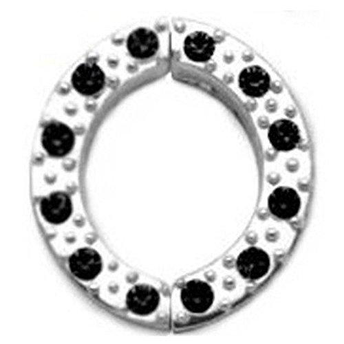 Brustwarzen Clip Schmuck mit klaren oder schwarzen Zirkonia Kristall Steinchen. 925 Sterling Silber, Fake Piercing - PNCR04 Brustwarzen Clip Schmuck (Black (schwarz) / 14mm)
