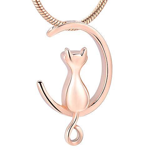 N/A' Memorial Cremation Moon & Cat Cremation Schmuck für Pet Memorial Urnen Halskette halten Asche Edelstahl Andenken Medaillon Schmuck-A