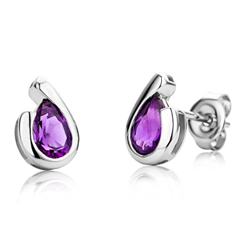 Miore Ladies 9ct White Gold Pear shape Amethyst Bezel Earrings MG9245E