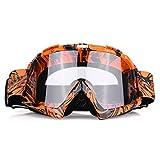 EVGATSAUTO Occhiali da moto, Motocross Motocross Off Road Dirt Bike Occhiali da corsa Occhiali Protezione degli occhi(Montatura arancione + lente trasparente)