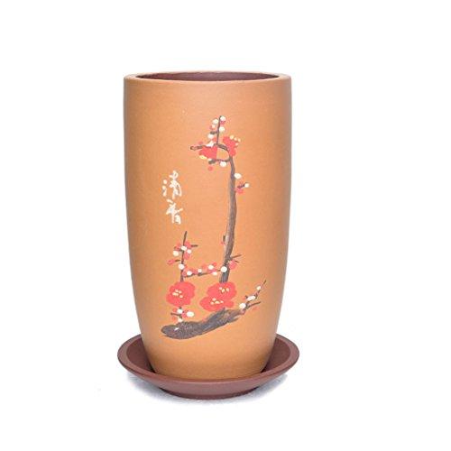 Pot de fleurs BOBE Shop en céramique Ronde de 20CM avec Le récipient de Plante Verte extérieure d'intérieur de Style Chinois (Couleur : Orange)