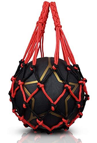 NOVUSVIA Premium Ballnetz 1 Ball [ROBUST & HOCHWERTIG] Balltragenetz Ball Carry Net [5 mm dick] Passend Für Verschiedene Ballgrößen [Besonders Belastungsfähig Mit Edelstahlring] (ROT | SCHWARZ)