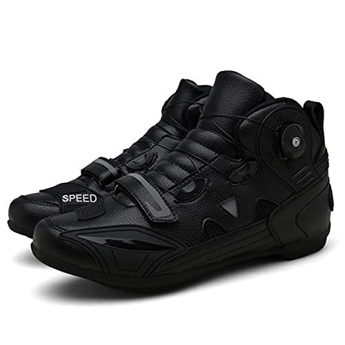 JQKA Zapatillas De Montacargas De Motocicletas Botas Protectoras De Motocross De Calle para Hombres, Zapatos Informales Transportables Transportables(Size:46,Color:Negro)