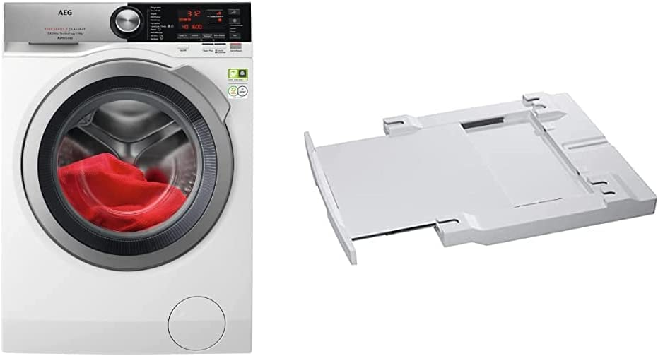 AEG L8FEC962Q Lavadora de Libre Instalación, Carga Frontal, 9 Kg + Kit unión torre lavadora-secadora con bandeja 54-60 cm [Clase de eficiencia energética A]