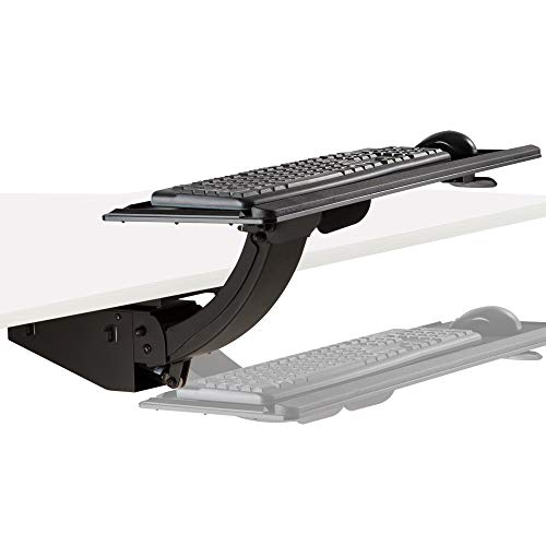 """AVLT Full Motion Under Desk Keyboard Tray - Sit Stand 13.4"""" Height Adjustable Heavy Duty Gas Spring System - 26.5"""" Wide Fully Protection Platform for Ergonomic Full-Size Keyboard Mouse"""
