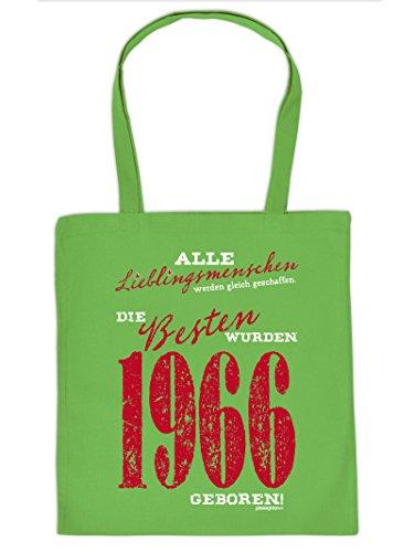 Lustige Einkaufstasche aus Stoff mit Aufdruck zum 50. Geburtstag - Lieblingsmenschen - Die Besten werden 1966 geboren!