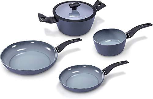 Estufa de barbacoa, aluminio, gris, 5 piezas de batería de cocina, apta para todo tipo de batería de cocina, incluida la cocina de inducción