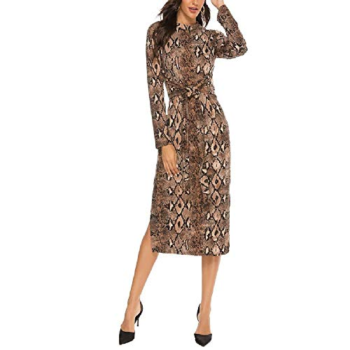 N\P Vestido de piel de serpiente con cuello redondo y manga larga dividida para mujer con cordones en la...