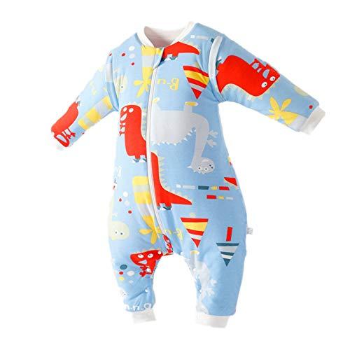 Bebé Saco de Dormir Algodón Bolsa de Dormir con Piernas 2 Tog Mameluco Pijamas Desmontable Manga Larga para Niños Niñas, 2-3 Años