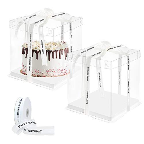 2pcs Caja de pastel transparente 8 pulgadas Cajas de plástico para tartas de regalo Caja de postre con cinta de Happy Birthday Caja de embalaje de panadería 26x26x25cm Caja de presentación de pasteles