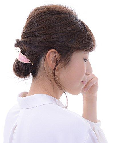 (ヴィラジオ)Viragio マジェステ 金属 ゴールド メタル スティック バレッタ 髪留め 髪飾り ヘアアクセサリー ブランド vi-1038 (ピンク)