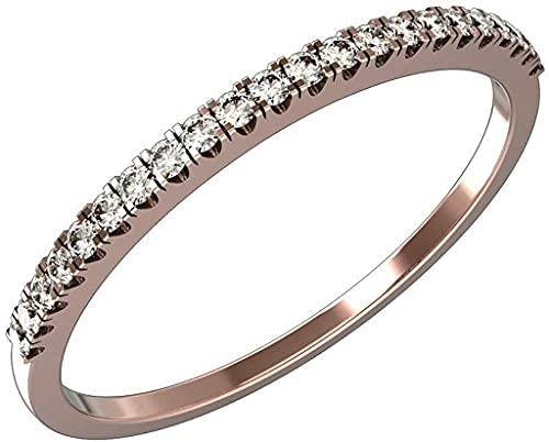 Anillo de banda de aniversario de media eternidad apilable clásico de 0.14 quilates naturales, conjunto de pavé, anillo de bodas de oro de 14 k (Color-HI / Clarity-I1-2) Oro amarillo (tamaño 50)