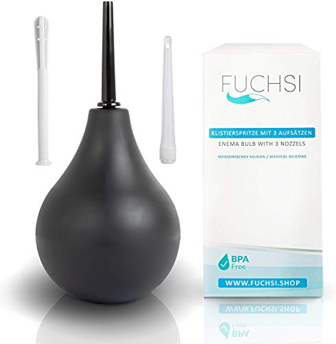 FUCHSI Klistier mit 3 verschiedenen Aufsätzen | Anal-Spülung aus medizinischem Silikon - hygienisch und BPA-frei | Einlauf mit 225ml | optimale Darmreinigung natürliches Abführmittel | Darmeinlauf