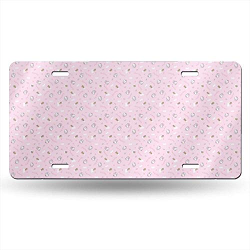 Suzanne Betty Aluminum License Plates - Hello Kitty Pink License Plate Tag Car Accessories 12 X 6 Inches