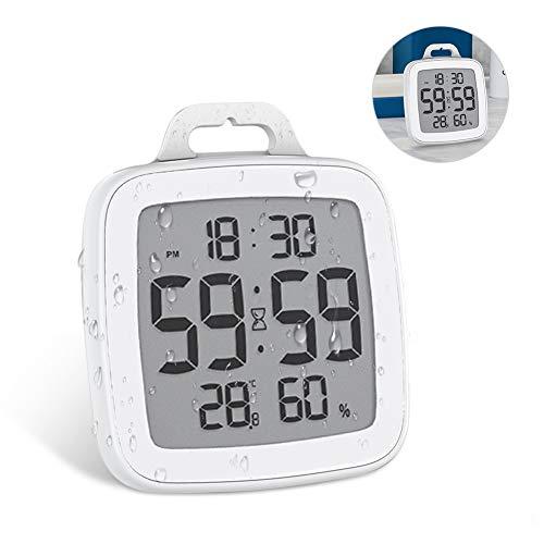 Powcan Badezimmeruhr Digital Wecker Uhr Badezimmer Dusche Saugnapf Shower Clock mit LCD Display Luftfeuchtigkeit Temperatur Wanduhren,Countdown Timer Für Dusche Küche