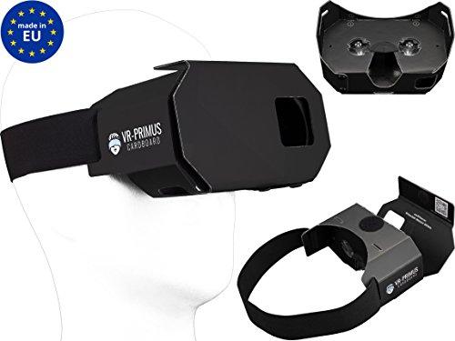 VR-PRIMUS® Cardboard, VR Brille geeignet für Smartphone & Handy z.B. Android,iPhone,Samsung,Huawei,LG,Plus,S7,S8,S9,7,8,9,X,p10,p20,G6 bis 6.0 Zoll.Mit Nasenpolster,Kopfband & Google Cardboard Apps