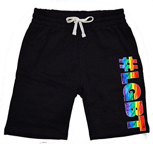 Men's Rainbow # LGBT Black Fleece Jogger Sweatpant Gym Shorts X-Large Black