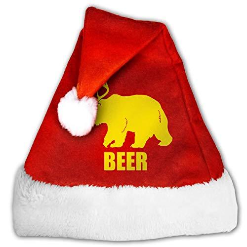 Sombrero de Navidad, Gorros de calcetín de año Nuevo de Ciervo de Oso de Cerveza para celebración y recreación, Sombreros de Terciopelo Dorado de Santa