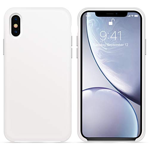 OTOFLY for iPhone X XS Case, [Silky and Soft Touch Series] Premium Soft Button Silicone Rubber Full-Body Protective Bumper Case Compatible with Apple iPhone X/iPhone Xs 5.8 inch, (White)