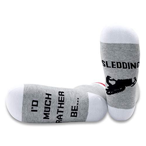 PYOUL - 1 par de calcetines de trineo para amantes de motos de nieve, regalo con texto en inglés 'I d Much Rather Be Sledding Socks para motos de nieve