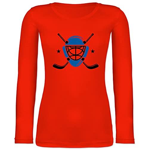 Shirtracer Eishockey - Eishockeyschläger Helm - L - Feuerrot - BCTW071_Damen_Langarm - BCTW071 - Langarmshirt Damen
