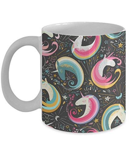 Lplpol Taza de café con diseño de unicornio con purpurina mágica y colorida impresión para niños, niñas y mujeres como se ve en pijama