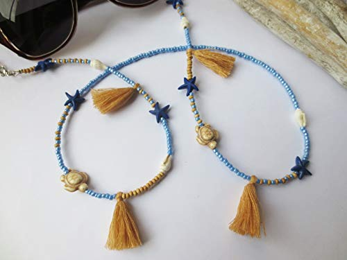 Kette, Brillenkette für Sonnenbrille, Muscheln, blau, beige, Glasperlen, Quasten, Hippie, Unikat, Brille, Geschenkidee Ostern, 79 cm
