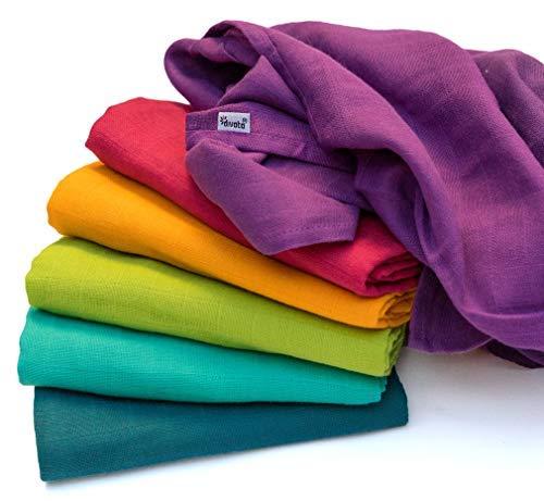 divata Bunte Baby Spucktücher (Regenbogen, 6er Set, 80x80 cm) - Farbige Mullwindeln, Mulltücher   100% Baumwolle, Oeko-Tex-Zertifiziert