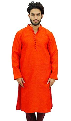 Atasi Camisa de disenador de Bollywood Naranja Kurta Larga de Ethnic Para Hombre Wear-X-Large