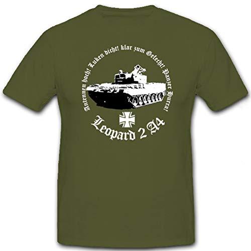 Leopard 2 A4 Antennen hoch Luken dicht klar zum Hurra Bundeswehr - T Shirt #7163, Farbe:Oliv, Größe:M