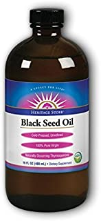 Heritage Store Black Seed Oil | 100% Pure Virgin, Certified Organic, Cold Pressed, Unrefined | Supports Hair, Skin, Health...