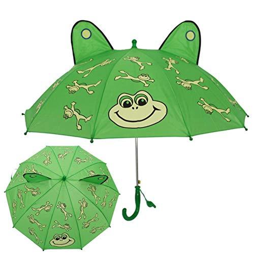 UKKD Paraguas Imprimir Paraguas Lindo Animales 3D Los Niños De Dibujos Animados para Los Niños Niña De Mango Largo Paraguas De La Lluvia Niños,No