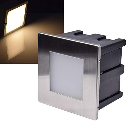 Applique murale LED encastrable en acier inoxydable Blanc chaud 5 W 38 lm 80 x 80 mm