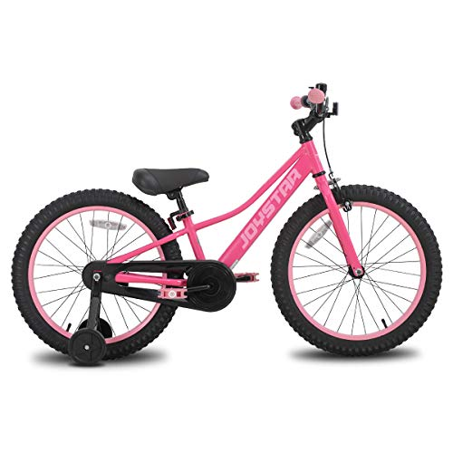 JOYSTAR 18 Inch Kids Bike with Training Wheels for 5 6 7 8 9 Years Old Girls, Toddler Cycle for Early Rider, Child Pedal Bike, Pink