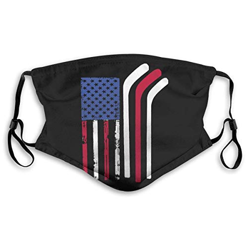 American Flag Made with Hockey Sticks Mask Unisex Windproof and Dustproof Mouth Mask, Face Cover with Adjustable Elastic Strap