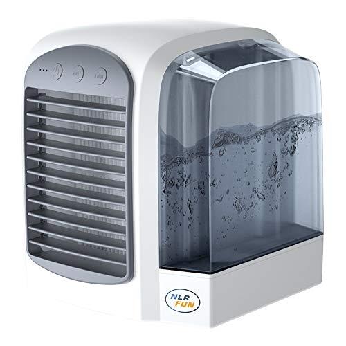 NLR Enfriador de aire personal, ventilador de mesa de refrigeración de agua portátil USB con luz nocturna, ventilador de para el hogar y la oficina, respetuoso con el medio ambiente (Gris)