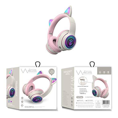 FEDBNET Auriculares Bluetooth con Oreja de Gato RGB, Auriculares Plegables para Juegos Música con Oreja de Gato de Luz LED, Auriculares Inalámbricos Recargables Estéreo