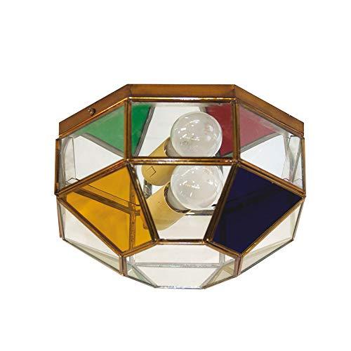 Plafón Granadino Artesanal Modelo Jatar 7075/0EVTC (Envejecido- Cristal Transparente y Color)