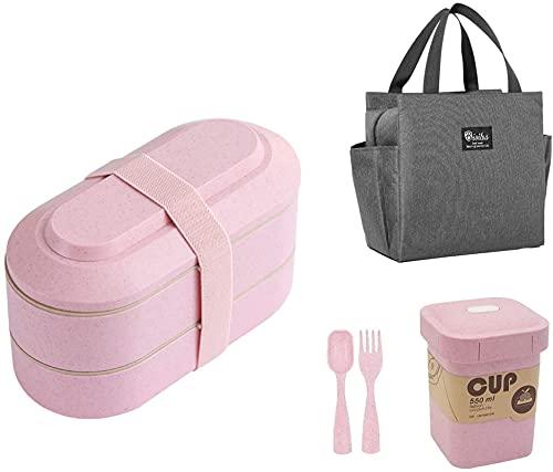 Cubiertos Conjunto: Caja de almuerzo en capas con anillo de sellado de silicona + taza de sopa reutilizable con tapa + bolsa de almuerzo de bolsillo doble con asa para trabajos / escuela / comedor / p