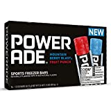 Powerade Sports Freezer Bars 1.5 oz Refreshing Ice Pops with Electrolytes B Vitamins – Naturally Flavored, Mountain Berry Blast and Fruit Punch, 2Pack 16 CT, 32 Total