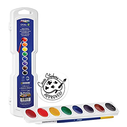 PRANG Oval-8 Pan Watercolor Paint Set, 8 Assorted Colors, Refillable, Includes Brush (00800), 8-Color