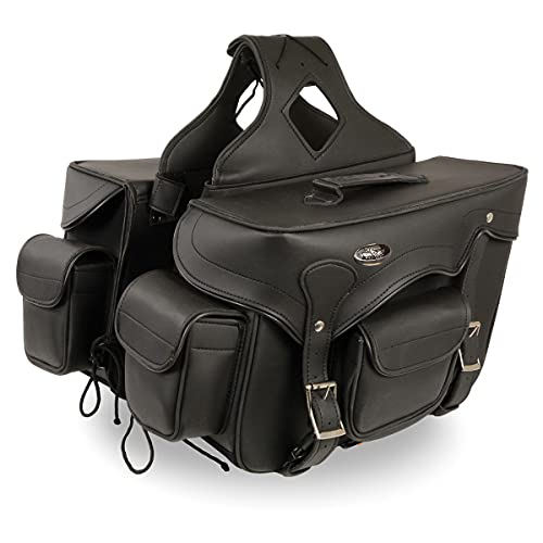 Milwaukee Leather SH66602 Zip-Off Double Pocket Studded PVC Throw Over Motorcycle Saddlebags - One...