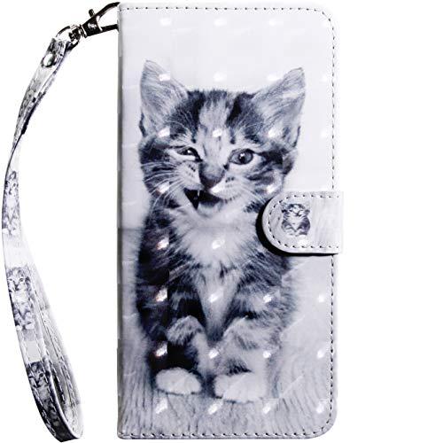 Jefencop Klapphüllen für Samsung Galaxy A20e Hüllen Cases mit Motiv Katze Handytasche Handyhülle Leder Innere Halteschale aus Silikon Stand Funktion Flipcase Tasche mit Kartenfächer Geldfach