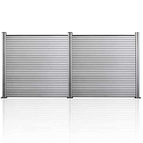 EINFEBEN Steckzaun WPC Zaun, Höhe 185 cm WPC Gartenzaun, 2X Quadratelement mit 3 Pfosten, UV-Bestandig WPC Sichtschutzzaun Komplettset, Grau