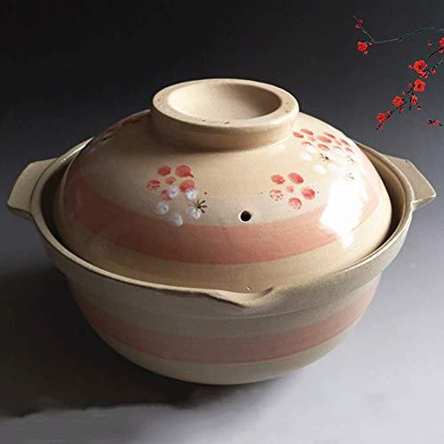 CHFQ - Cacerola de cerámica Floral Vintage con Tapa, Lata de Arcilla de 2 litros para cocinar, Antiadherente Natural, Adecuada para 1-2 Personas, 2 litros