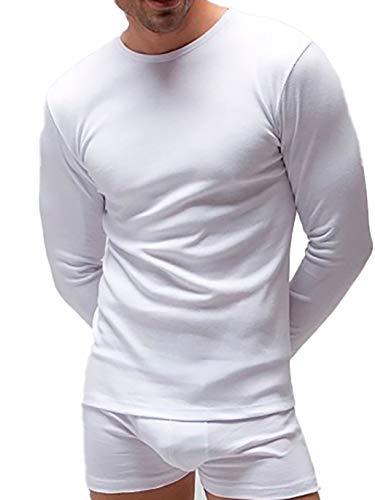 Pack 2 - Camiseta Interior Manga Larga térmica Hombre (Blanco, XL)