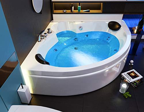 """Oimex 2 Personen Whirlpool Badewanne""""Italian"""" mit LED exklusiv 150 x 61,5 x 150 cm inklusive Armaturen, Schürze und Gestell"""