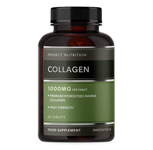 Premium Marine Collagen - High Strength 1000mg Hydrolysed Collagen Tablets - One A Day - 60 Tablets - Made in The UK by Project Nutrition